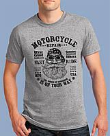 0041-TSRA-150-GM Мужская футболка «АМЕРИКАНСКИЙ БАЙКЕР» темно-серая,меланж