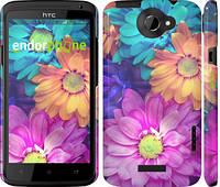 """Чехол на HTC One X разноцветные цветы 1 """"2271c-42"""""""