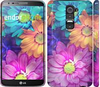 """Чехол на LG G2 разноцветные цветы 1 """"2271c-37"""""""