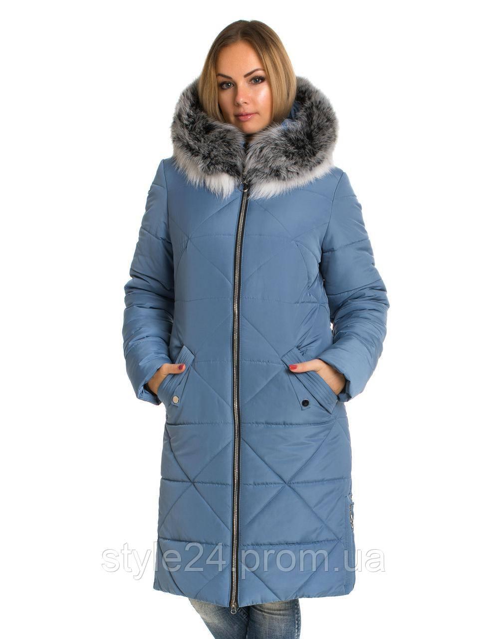 Жіночий зимовий пуховик  з опушкою чорнобурки , 4 кольори  .Р-ри 42-60