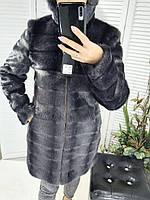Женская шуба эко мех с капюшоном цвет графит ,большие размеры 50-58