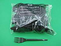 Вилки пластиковые плотные 100 шт Черные Юнита
