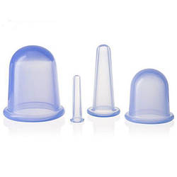 Вакуумные силиконовые банки для массажа лица и тела 4 шт