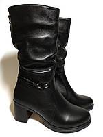 Сапоги женские зимние кожаные на удобном каблуке Код: 282-зимние