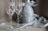 Свадебные бокалы и шампанское ′Дерево любви′