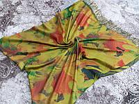 Шарф-палантин желто-зеленый с цветочным рисунком (Турция)