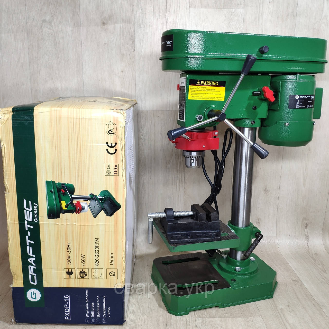 Свердлильний верстат Craft-Tec PXDP-16 Патрон 650Вт
