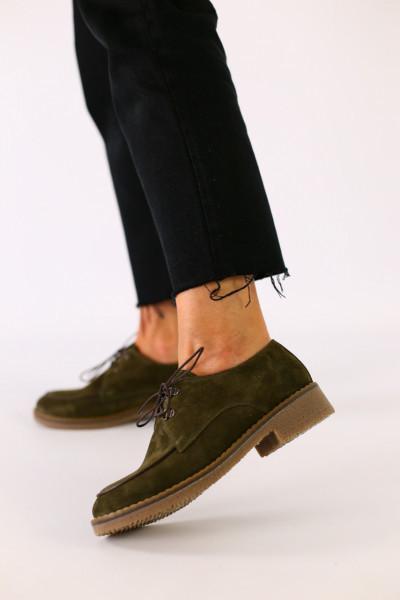 Женские замшевые туфли на шнуровке, цвета хаки
