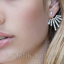 Серьги джекеты веер под мочкой уха с белыми камнями бижутерия, фото 3