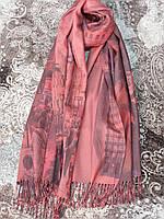 Шарф-палантин женский красный фото город (Турция)