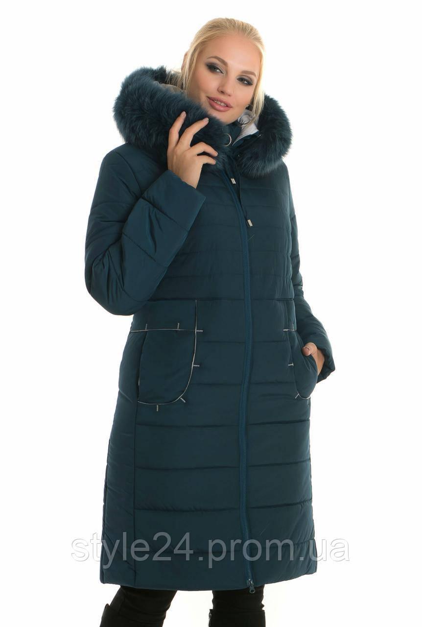 Жіночий зимовий пуховик з опушкою писця  .Р-ри 48- 62