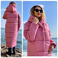 Пальто курка  кокон Oversize зимняя, артикул 500, цвет розовая роза/светлая марсала, фото 1