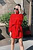 Мягкое пушистое вязанное платье туника с широкими рукавами и поясом в комплекте, норма и батал большие размеры, фото 10