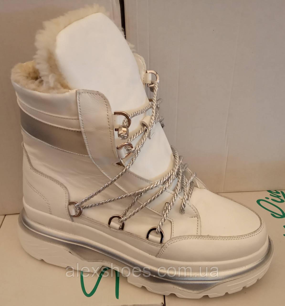 Ботинки луноходы женские зима на толстой подошве из натуральной кожи от производителя ЛИН097