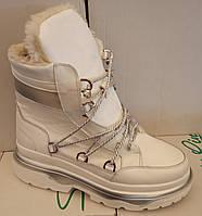 Ботинки луноходы женские зима на толстой подошве из натуральной кожи от производителя ЛИН097, фото 1