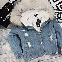 Теплая джинсовая куртка 2019/20 с мехом внутри, фото 1
