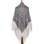 Драгоценная 1292-2, павлопосадский платок (шаль) из уплотненной шерсти с шелковой вязанной бахромой, фото 9