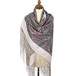 Драгоценная 1292-2, павлопосадский платок (шаль) из уплотненной шерсти с шелковой вязанной бахромой, фото 10