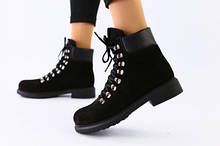 Женские зимние ботинки черные нубук
