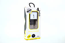 Зарядное устройство 4you A22 (2100mAh - 100%, 2 USB, Led, Exclusive design) black/white + Micro USB (Snake), фото 2