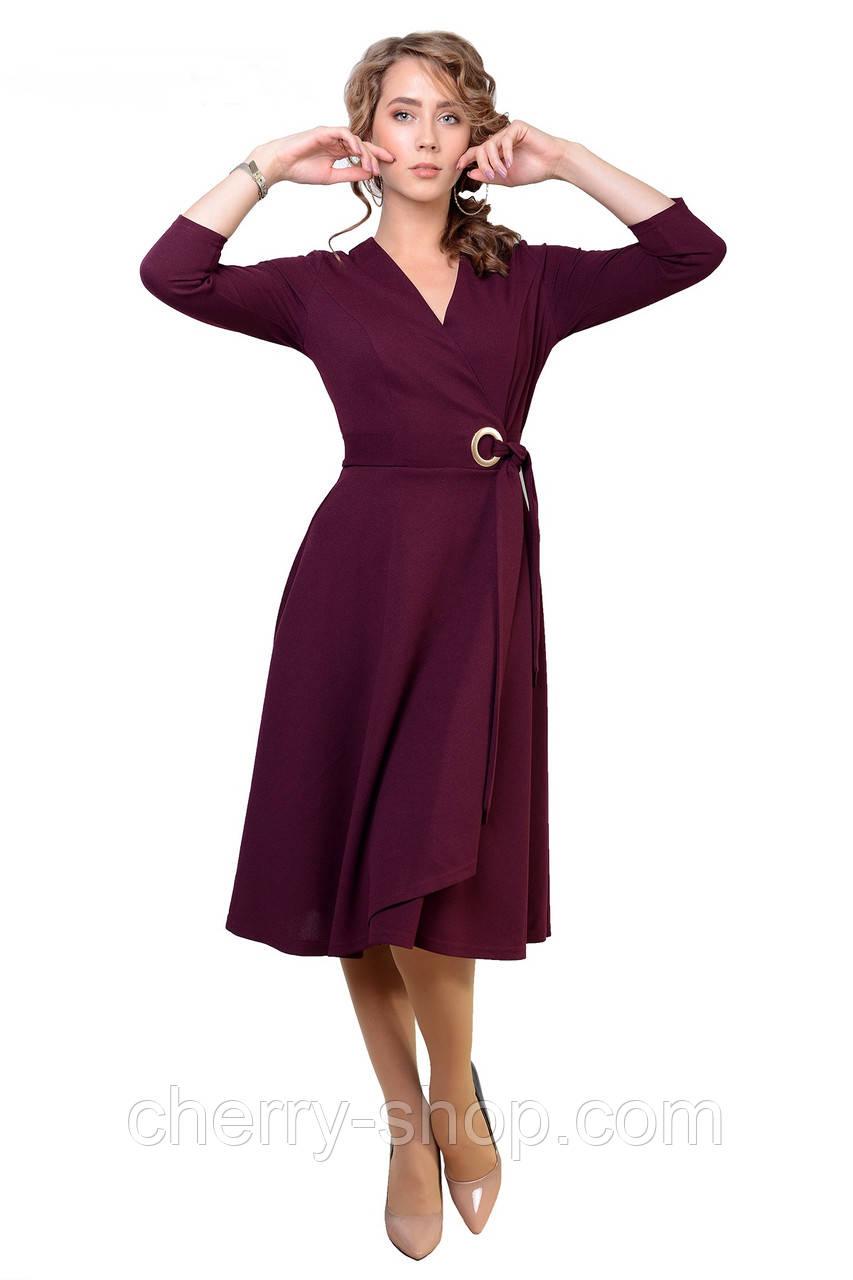 Модное бордовое платье из трикотаж-креп-дайвинг