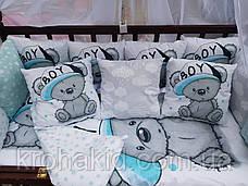 """Набір постільної білизни в дитячу ліжечко/ манеж """"Ведмедики"""" - Бортики / Захист в ліжечко, фото 2"""