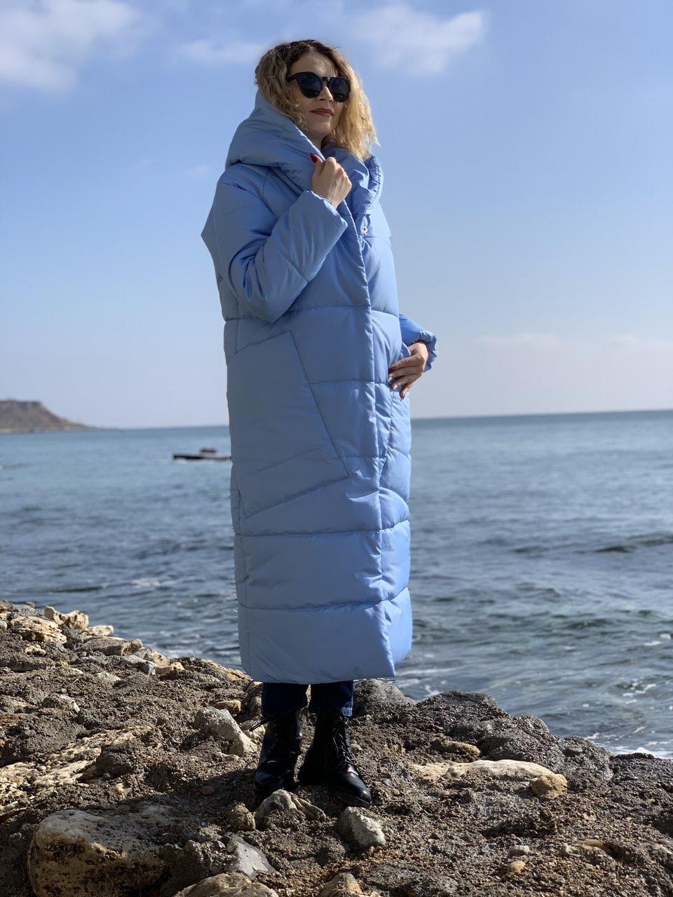 Пальто курка кокон Oversize зимова, артикул 500, колір небесно блакитний
