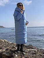 Пальто курка кокон Oversize зимова, артикул 500, колір небесно блакитний, фото 1