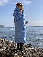Пальто курка  кокон Oversize зимняя, артикул 500, цвет небесно голубой