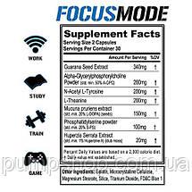 Енергетик стимулятор мозкової діяльності EVLution Nutrition Focus Mode 60 капс., фото 2