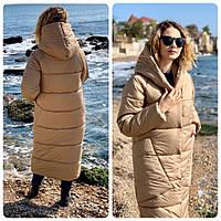 Пальто курка  кокон Oversize зимняя, артикул 500, цвет золотистый беж