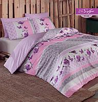 Комплект постельного белья ранфорс Majoli Sofya v2 Lilac евро