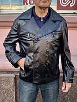 Куртка мужская короткая двубортная демисезонная кожа натуральная, фото 1