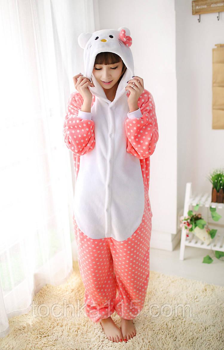 Пижама кигуруми Hello Kitty розовый, пижама хелоу кити