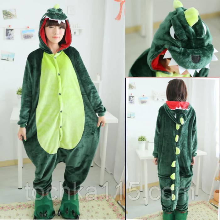 Пижама кигуруми с Драконом зеленый