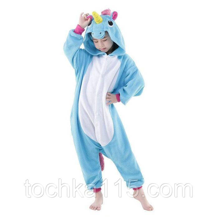Пижама кигуруми Детские единорог голубой
