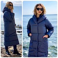 Пальто курка  кокон Oversize зимняя, артикул 500, цвет синий, фото 1