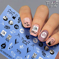 Слайдер-дизайн Fashion nails - наклейка на ногти - листочки осенние и надписи арт.Aero51