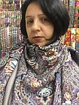 Бенефис 1769-2, павлопосадский платок шерстяной (двуниточная шерсть) с шелковой вязаной бахромой, фото 10