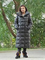 Женский длинный пуховик одеяло VS 87 с воротником подушкой, цвет графит