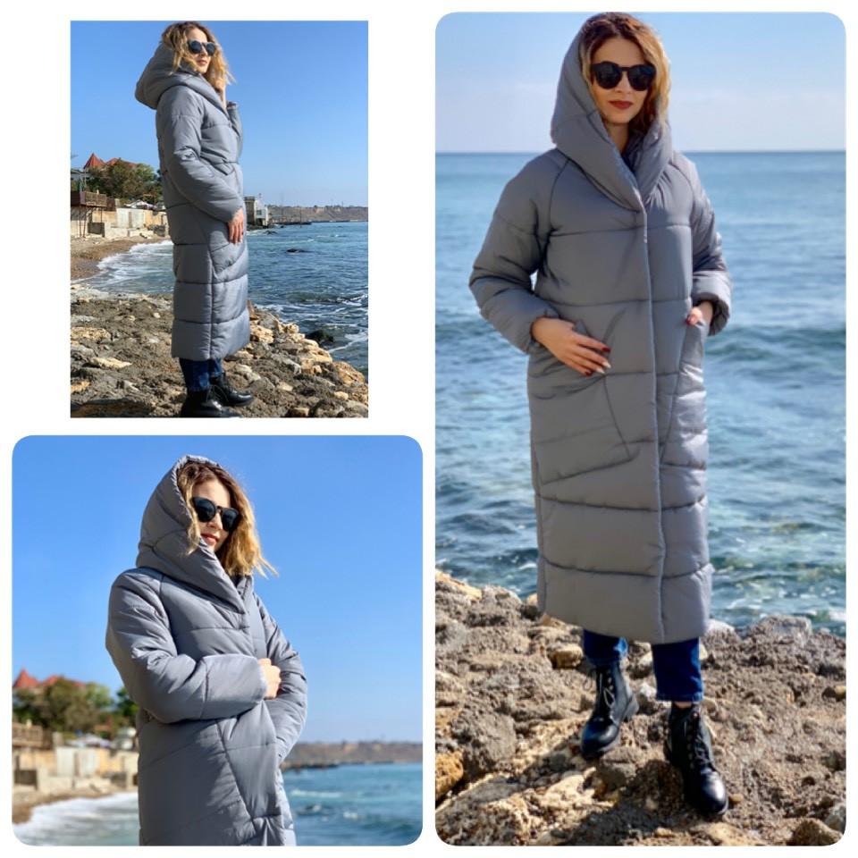 Куртка пуховик  Oversize зимняя, артикул 500, цвет серый маренго