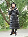 Жіночий довгий пуховик ковдру VS 87 з коміром подушкою, колір графіт, фото 4