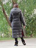 Жіночий довгий пуховик ковдру VS 87 з коміром подушкою, колір графіт, фото 2