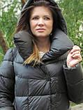 Жіночий довгий пуховик ковдру VS 87 з коміром подушкою, колір графіт, фото 5