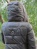 Жіночий довгий пуховик ковдру VS 87 з коміром подушкою, колір графіт, фото 6