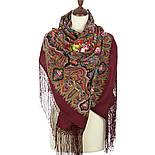 Миндаль 1369-6, павлопосадский платок (шаль) из уплотненной шерсти с шелковой вязанной бахромой, фото 2