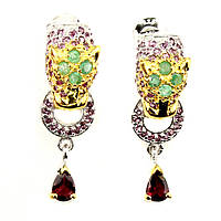 Серебряные серьги Леопард с натуральными рубином, гранатом и изумрудом