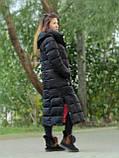 Женский длинный пуховик одеяло VS 87 с воротником подушкой, цвет чёрный, фото 2