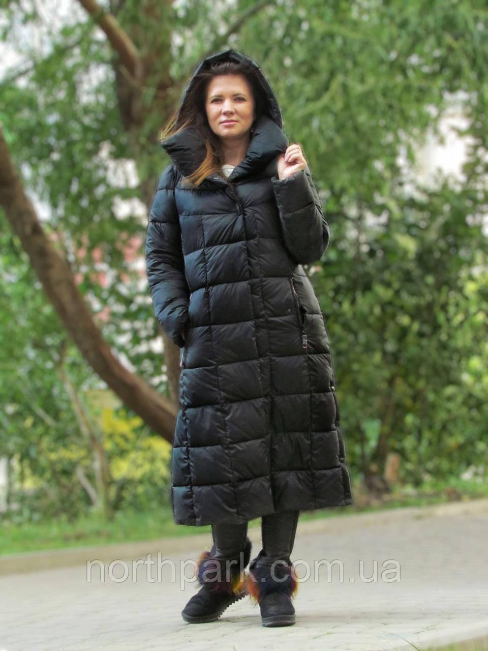 Женский длинный пуховик одеяло VS 87 с воротником подушкой, цвет чёрный 42