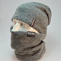 Комплект Kruz шапка с заклепкой и бафф на флисе меланж белый, фото 1